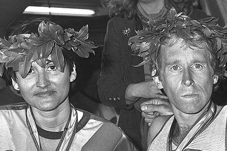 Rosie Ruiz with Men's Winner Bill Rodgers, 1980.