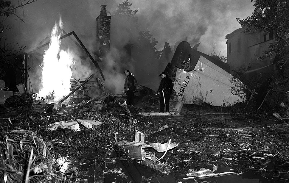 The aftermath of Hughes' 1946 plane crash in Beverly Hills, California.