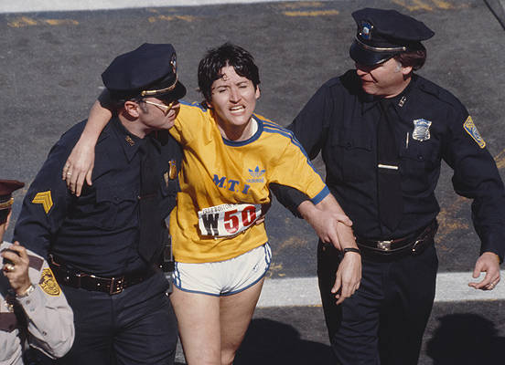 Ruiz just after crossing the finish line, 1980.