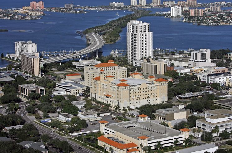 "A view of the Fort Harrison and the ""SuperPower"" building in downtown Clearwater, Florida."