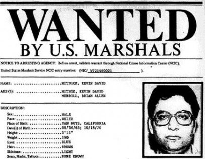 Mitnick's wanted poster, 1994.