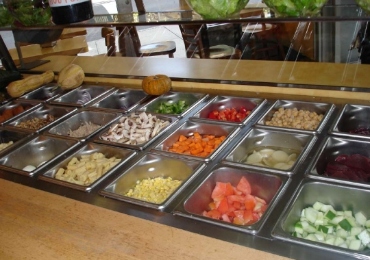 A typical American salad bar.